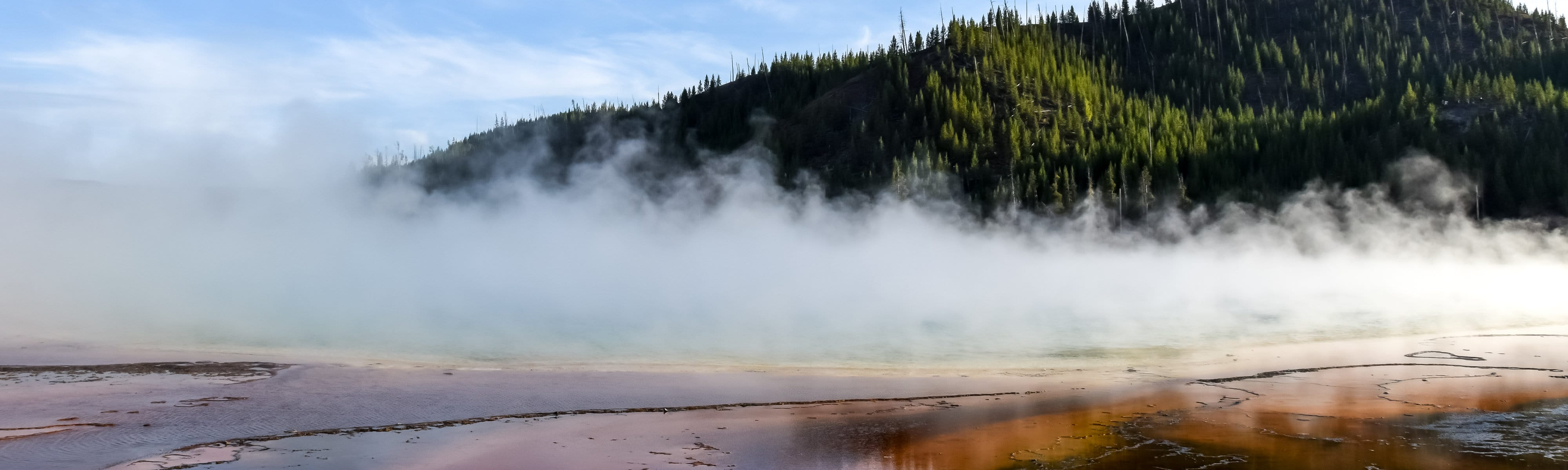 Steam coming from a hot spring.