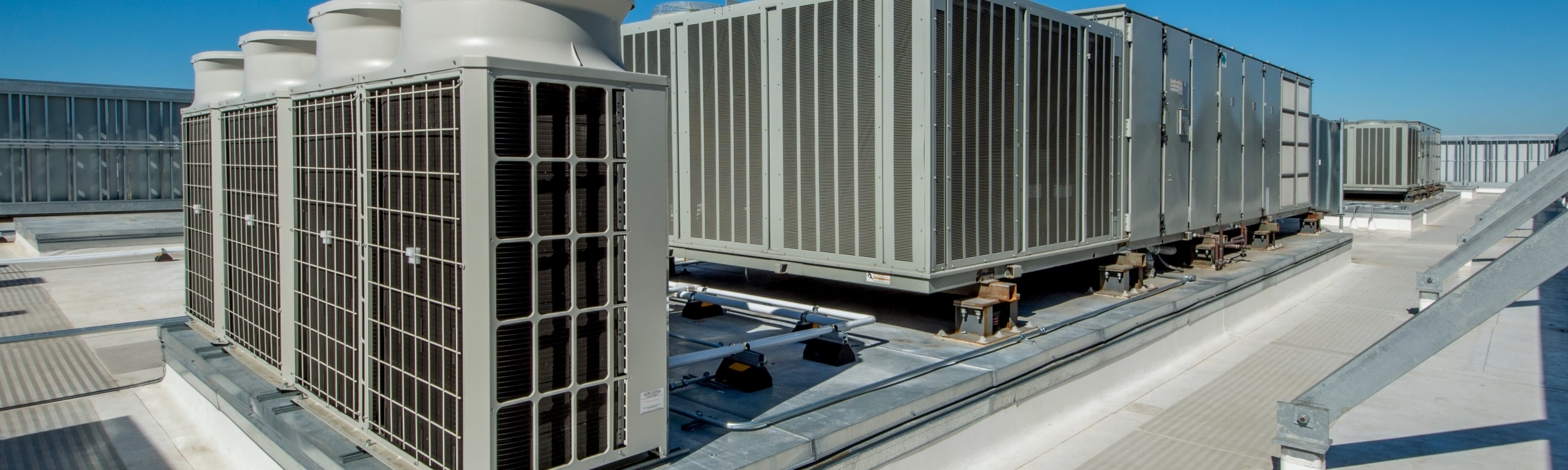 Commercial HVAC equipment on a roof.
