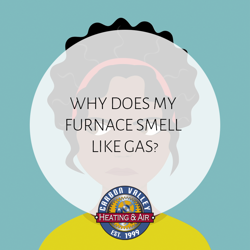 A cartoon woman with a logo over her head | Video - Why Does My Furnace Smell Like Gas When I Turn it ON?